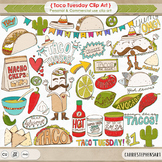 Taco Tuesday ClipArt, Mexican Fiesta, Cinco de mayo celebration, Food Clip Art