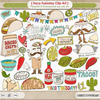 Taco Tuesday ClipArt, Mexican Fiesta, Cinco de mayo celebr