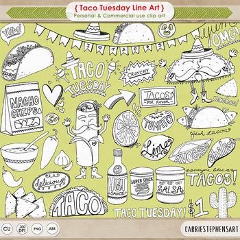 Taco Tuesday Black Line Art, Cinco de mayo celebration, Fiesta Outline Clip Art