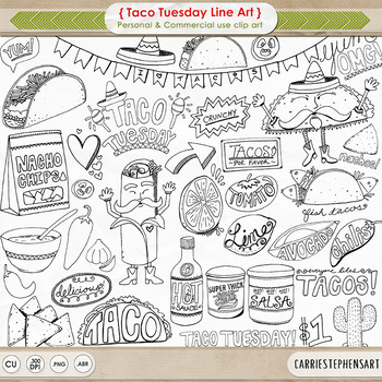 Taco Tuesday Black Line Art, Cinco de mayo celebration, Fi