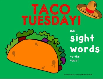 Taco Tuesday Sight Words or CVC Word Work Activity (Freebie!!)