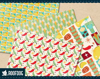 Taco and tequila fiesta themed digital paper patterns