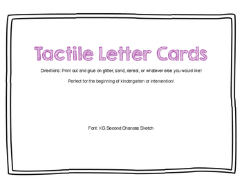 Tactile Letter Cards