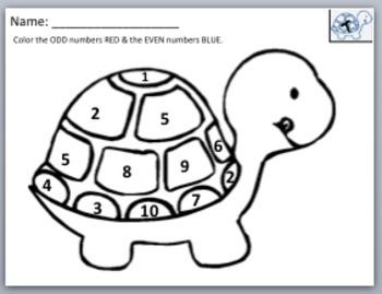Taffy the Turtle Math Worksheets with FREE BONUS Color Page