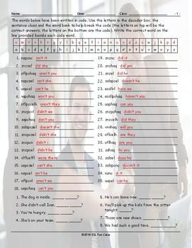 Tag Questions Decoder Box Worksheet