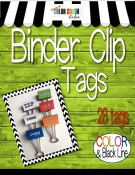 Tag You're It! Binder Clip Edition In Color and Black Line