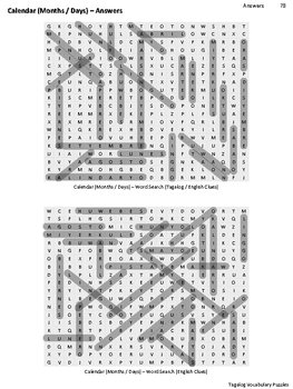 Tagalog Vocabulary CrossWord and Word Search (Calendar)