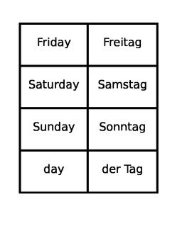 Tage, Monate, Jahreszeiten (Days Months Seasons in German) Concentration games