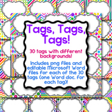 Tags, Tags, Tags-30 Editable Name Tags, Classroom Labels