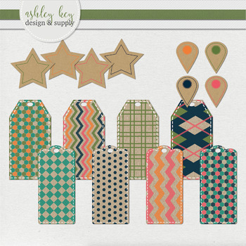 Tags and Labels Clipart- Craft Paper Pop Collection