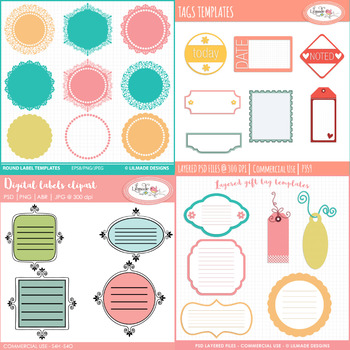 Tags and labels templates, PSD templates, layered templates