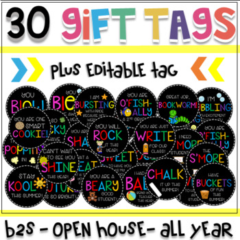Back to School, Open House, & Meet the Teacher Student Gift Tags