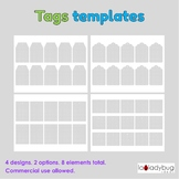 Tags templates. Clip art for commercial use. Tag templates
