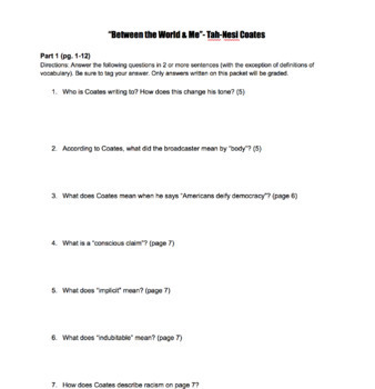 Tah-Nehisi Coates Between the World and Me Close Reading Questions Packet