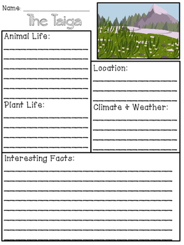 Taiga Biome Research Packet