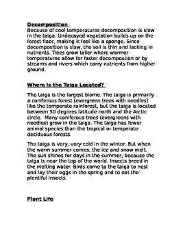 Taiga Biome short passage description