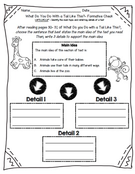 Tail Like This-  Main Idea/ Detail Activity/ Assessment