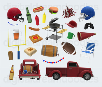 Tailgate Party Clip Art - Football Game Day Digital Graphics
