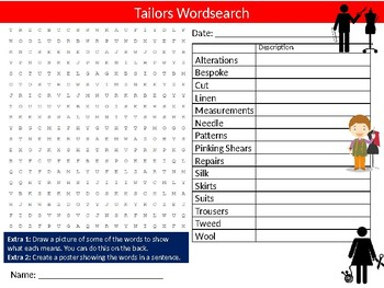 Tailors Wordsearch Sheet Starter Activity Keywords Textiles Careers