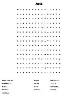 Taiwan Mapping Worksheet w/ Middle East Word Search