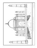 Taj Mahal.  Coloring page and lesson plan ideas