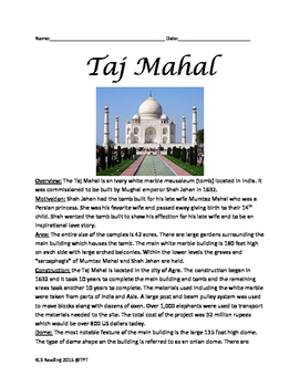 Taj Mahal - History Facts Information Lesson India -Wonder of the World