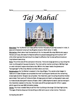 Taj Mahal - History Facts Information Lesson India -Wonder