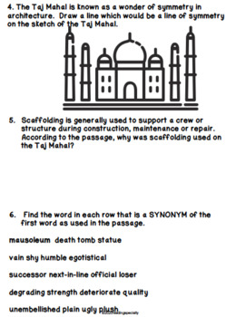 Taj Mahal Reading Passage and Comprehension Questions/Activities