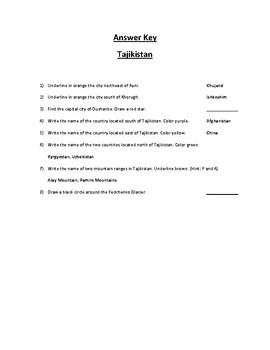 Tajikistan Map Scavenger Hunt