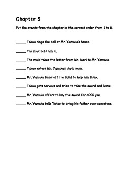 Takao and Grandfather's Sword Comprehension Packet