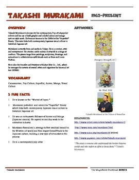 Takashi Murakami Informational Worksheet