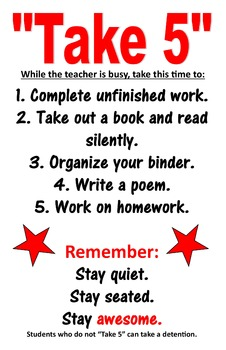 Take 5 Classroom Management Poster