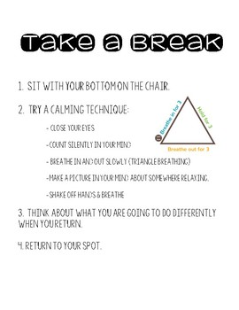 Take A Break/Time Out Chair Poster- Responsive Classroom