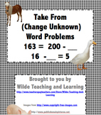 Math Word Problems -Take From (Change Unknown)