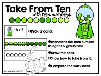 Take From Ten Gum Balls- Subtracting 8 and 9 from Teen Numbers