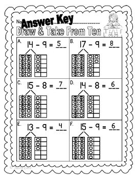 Take From Ten to Subtract:  Activities and Printables