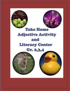 Take-Home Adjective Activity and Literacy Center Gr. 2,3,4