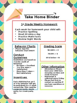 Take Home Binder - Mermaid Theme