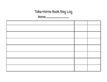 Take Home Book Bag Log