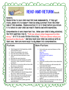 Take Home Book Bag with Prompts and Questions for Parents
