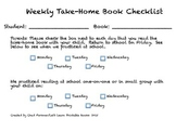 Take-Home Book Checklist for Home and School Communication