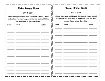 take home book parent signature sheet by the helpful apple tpt