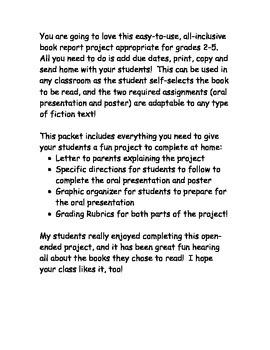 Take Home Book Report Project (Grade 2-5)