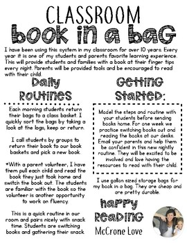 Take Home Book System {Book in a Bag}