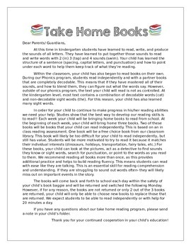 """Take Home Books: EDITABLE Letter to Parents & """"What to do"""