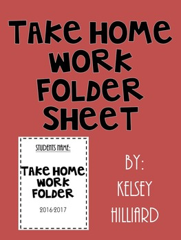 Take Home Folder (Cover Sheet for students ) black and white