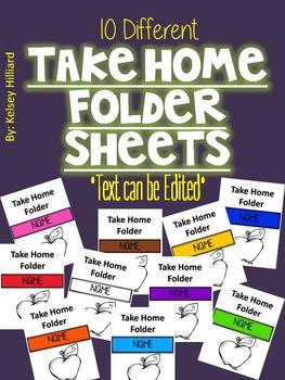 Take Home Folder Cover Sheet(ten different kind) can be edited