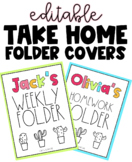 Cactus Folder Binder Covers   EDITABLE Take Home Homework Folder Templates