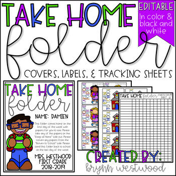 take home folder covers labels tracking sheets editable tpt