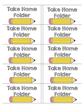 Take Home Folder Labels